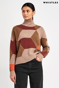 Whistles Multi Cable Intarsia Colourblock Wool Knit Jumper