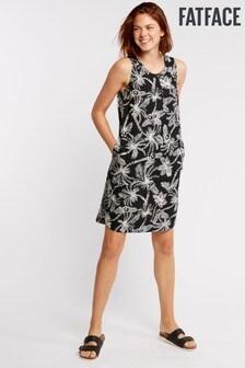 FatFace Black Lea Palm Linen Blend Dress