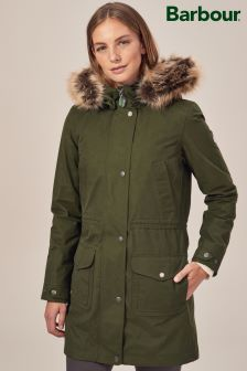 Barbour® Green Ferryside Faux Fur Hood Trim Coat