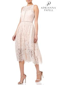 Adrianna Papell  Halter Lace Tea Length Party Dress