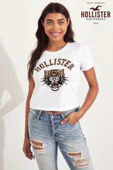 Hollister White Sequin Tiger Tee