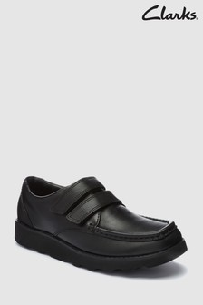 Clarks Kids Crown Tate Black Leather School Shoe
