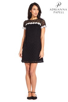 Adrianna Papell Black Ditsy Lace Shift Dress