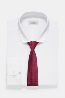 Regular Fit Single Cuff Shirt With Red Tie Set