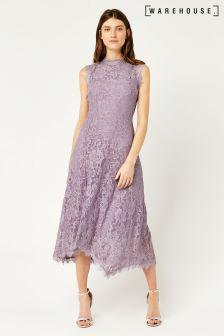 Warehouse Lilac Lace Midi Dress