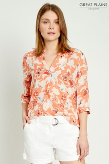 Great Plains Orange Tulum Floral Shirt