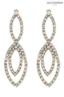 Accessorize Diamanté Double Over Earrings