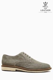 Замшевые туфли на шнурках с декоративной отстрочкой и перфорацией