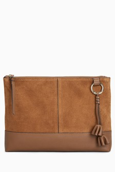 Leather Zip Top Clutch Bag