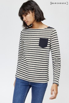 Warehouse Blue Pocket Stripe Jumper