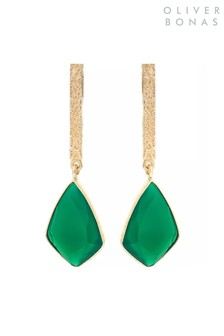 Oliver Bonas Green Sidra Long Stone & Gold Plated Brass Tab Drop Earrings