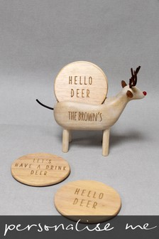 Set of 4 Personalised Reindeer Coaster