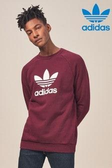 adidas Originals Rundhalspullover mit Dreiblatt-Logo, weinrot