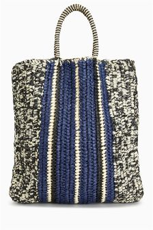 Stripe Straw Shopper