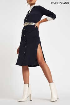 River Island Navy Midi Shirt Dress