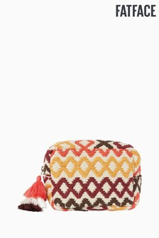 FatFace Yellow Woven Diamond Cosmetic Bag