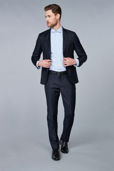 Hackett Navy Plain Wool Twill Trouser