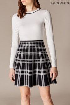 a4171bb491c4 Úpletové šaty s čiernou károvanou sukňou Karen Millen