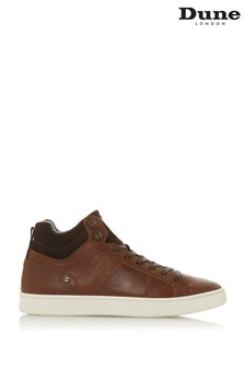 Dune London Videl Tan Leather Contrast Collar Hi-Top Trainers