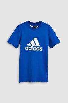 adidas Blue Stack Logo Tee