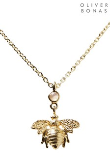 Oliver Bonas Gold Plated Bee Charm & Moonstone Pendant Necklace