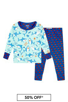Hatley Kids & Baby Baby Boys Blue Shark Party Organic Cotton Pyjama Set