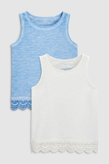 Lace Hem Vests Two Pack (3-12yrs)