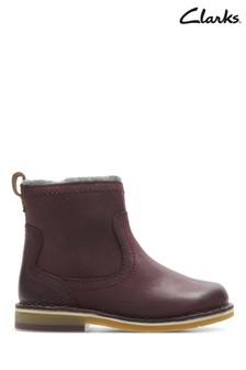 Clarks Burgundy Comet Frost Lined First Ankle Boot