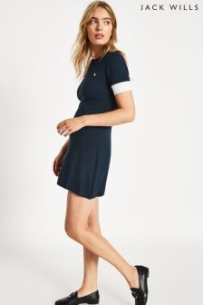 Jack Wills Navy Baverstock Contrast Fit And Flare Dress