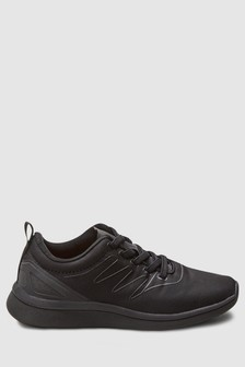 a6878d2a2f475 Black Elastic Lace Trainers (Older)