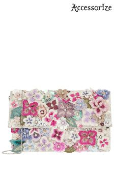 Accessorize Pink Francesca Wow Embellished Fold Over Bag