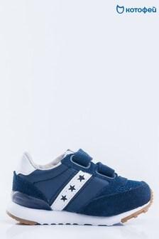 Темно-синие кроссовки с белыми вставками и звездами Kotofey