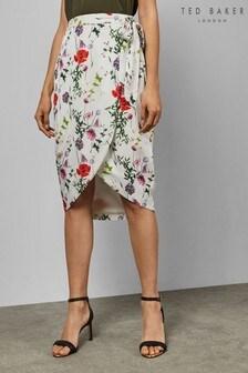 Ted Baker Ivory Floral Midi Skirt