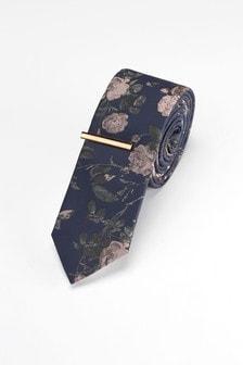 Krawatte mit floralem Print und Krawattenklammer