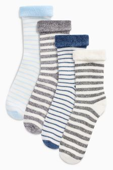 Stripe Terry Turn Over Socks Four Pack (Younger)