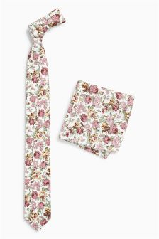 Floral Cotton Tie And Pocket Square