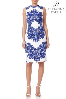 Adrianna Papell White Lace Printed Mock Neck Dress