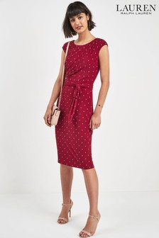 Lauren Ralph Lauren® Red Polka Dot Drape Dress