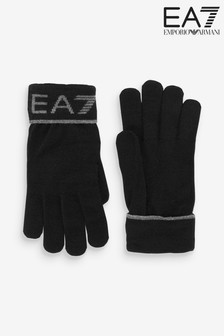 Emporio Armani EA7 Black Logo Gloves
