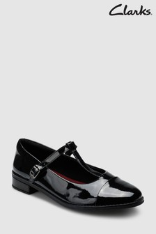 Clarks Black Patent Drew Shine T-Bar Youth Shoe