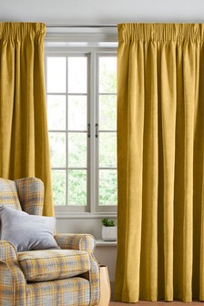 Soft Velour Pencil Pleat Lined Curtains
