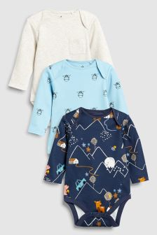 Woodland Character Long Sleeve Bodysuits Three Pack (0mths-2yrs)