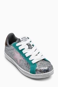 Metallic Lace-Up Trainers (Older)