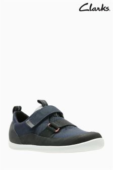 Clarks Navy Play Pioneer Double Velcro Kids Trainer