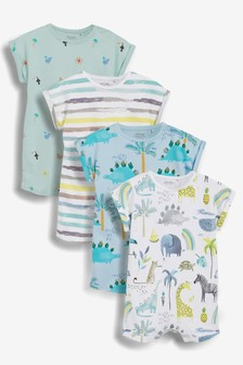 4 Pack Printed Rompers (0mths-3yrs)