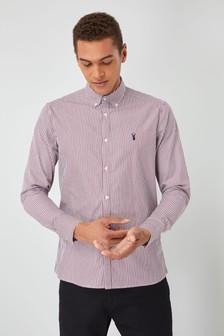 Popelinowa koszula w paski, z długimi rękawami