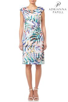 Adrianna Papell Ivory Leaves Knit Jaquard Sheath Dress