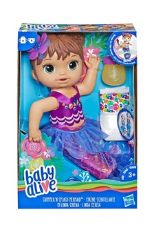 Baby Alive Shimmer n Splash Mermaid Baby Doll Brown Hair