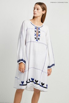 French Connection White Cotula Embroidered Folk Dress