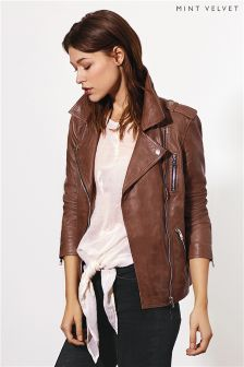 Mint Velvet Tan Washed Leather Biker Jacket